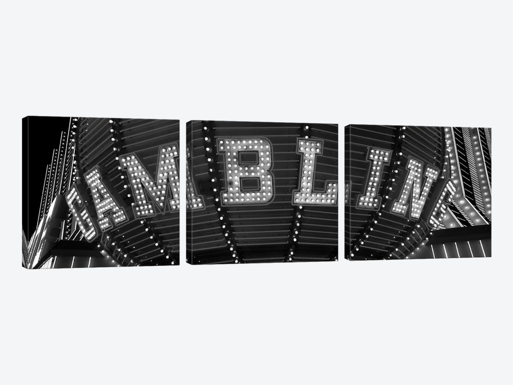 Close-up of a neon sign of gambling, Las Vegas, Clark County, Nevada, USA 3-piece Canvas Print