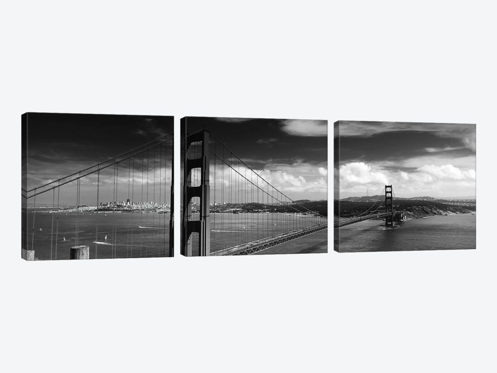 Bridge Over A River, Golden Gate Bridge, San Francisco, California, USA 3-piece Canvas Wall Art