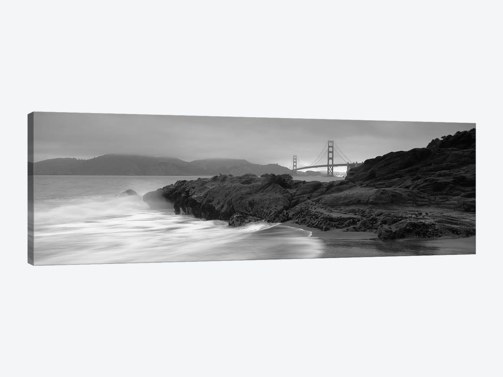Waves Breaking On Rocks, Golden Gate Bridge, Baker Beach, San Francisco, California, USA by Panoramic Images 1-piece Canvas Art Print