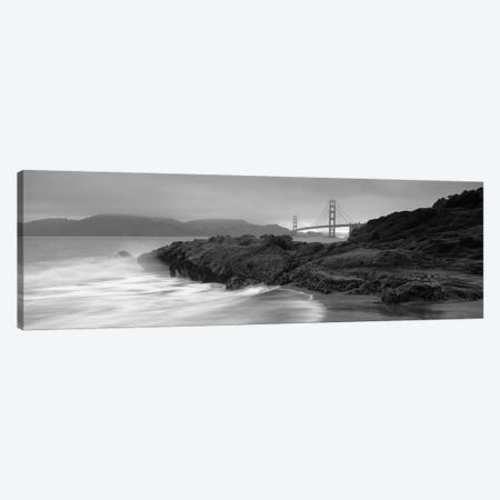 Waves Breaking On Rocks, Golden Gate Bridge, Baker Beach, San Francisco, California, USA 3-Piece Canvas #PIM11828} by Panoramic Images Canvas Print