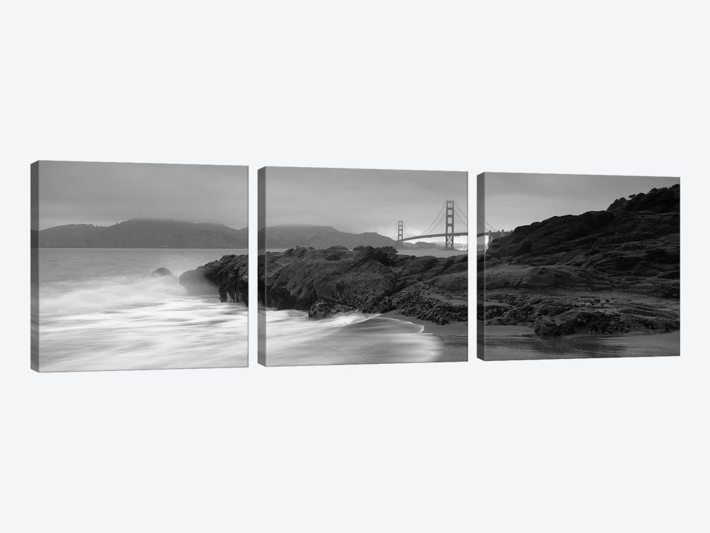 Waves Breaking On Rocks, Golden Gate Bridge, Baker Beach, San Francisco, California, USA by Panoramic Images 3-piece Art Print