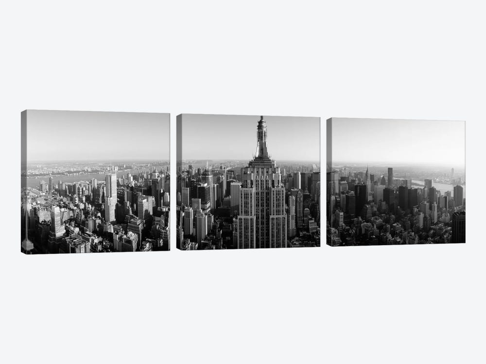 Aerial view of a cityscape 2, Empire State Building, Manhattan, New York City, New York State, USA by Panoramic Images 3-piece Canvas Art Print