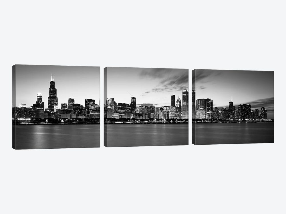 Buildings at the waterfront, Lake Michigan, Chicago, Cook County, Illinois, USA by Panoramic Images 3-piece Art Print