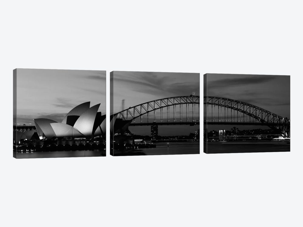 Sydney Harbour In B&W, Sydney, New South Wales, Australia by Panoramic Images 3-piece Art Print