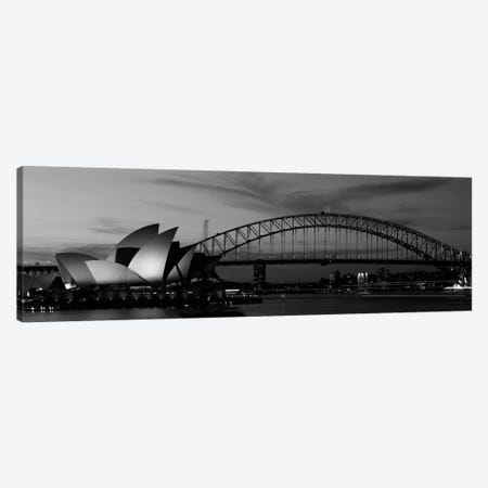 Sydney Harbour In B&W, Sydney, New South Wales, Australia 3-Piece Canvas #PIM11839} by Panoramic Images Canvas Artwork