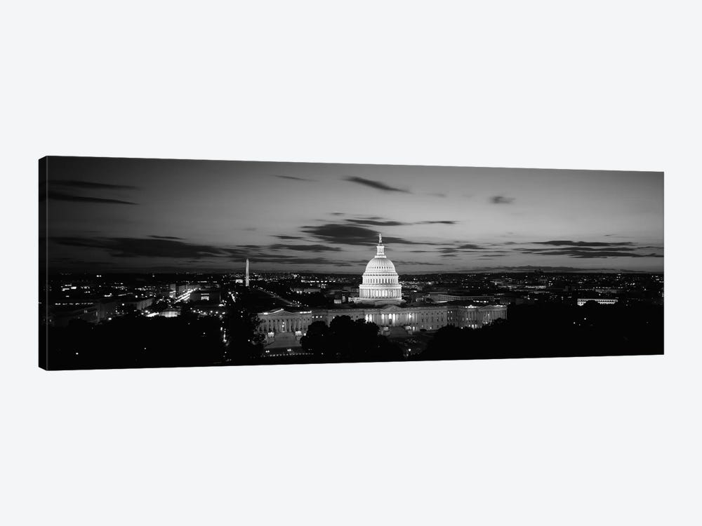 Government building lit up at night, US Capitol Building, Washington DC, USA by Panoramic Images 1-piece Canvas Wall Art