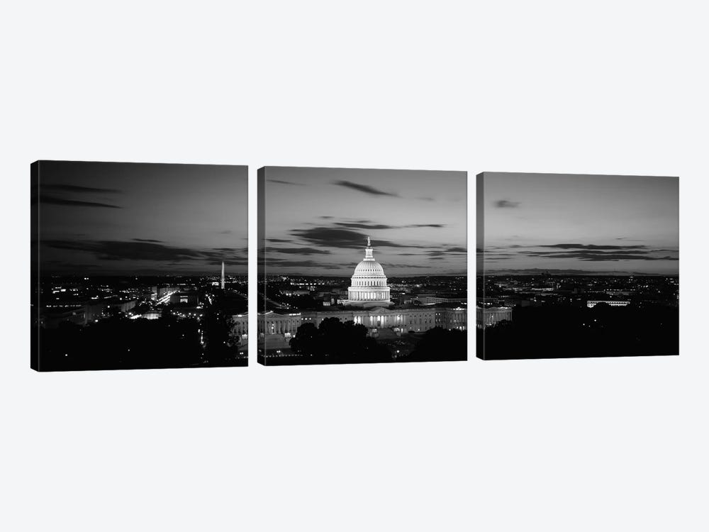 Government building lit up at night, US Capitol Building, Washington DC, USA by Panoramic Images 3-piece Canvas Wall Art
