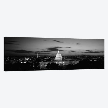 Government building lit up at night, US Capitol Building, Washington DC, USA Canvas Print #PIM11845} by Panoramic Images Canvas Art