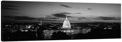 Government building lit up at night, US Capitol Building, Washington DC, USA Canvas Art Print