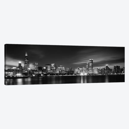 Downtown Skyline At Night In B&W, Chicago, Cook County, Illinois, USA Canvas Print #PIM11847} by Panoramic Images Canvas Artwork