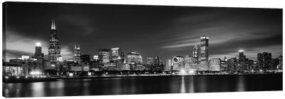 Downtown Skyline At Night In B&W, Chicago, Cook County, Illinois, USA Canvas Art Print