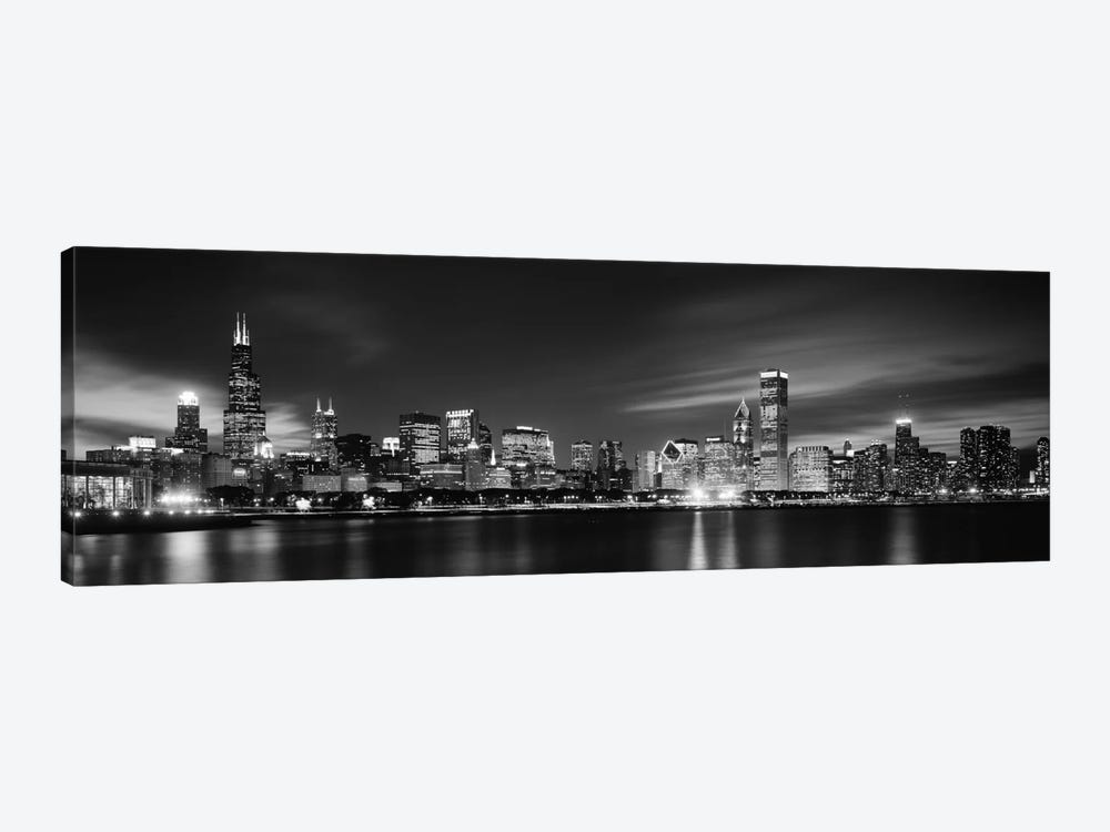 Downtown Skyline At Night In B&W, Chicago, Cook County, Illinois, USA by Panoramic Images 1-piece Canvas Art