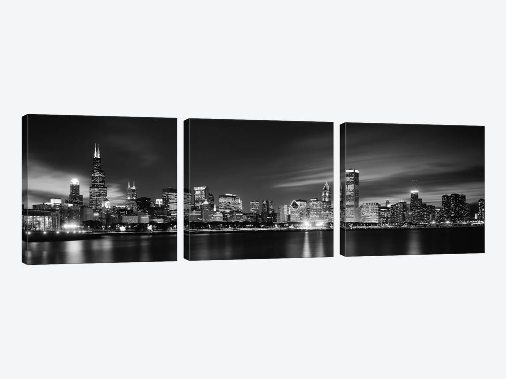 Downtown Skyline At Night In B&W, Chicago, Cook County, Illinois, USA by Panoramic Images 3-piece Canvas Art