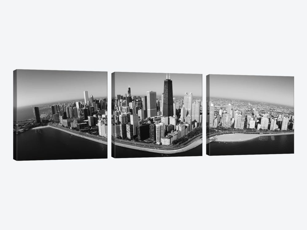 Aerial view of buildings in a city, Lake Michigan, Lake Shore Drive, Chicago, Illinois, USA by Panoramic Images 3-piece Art Print