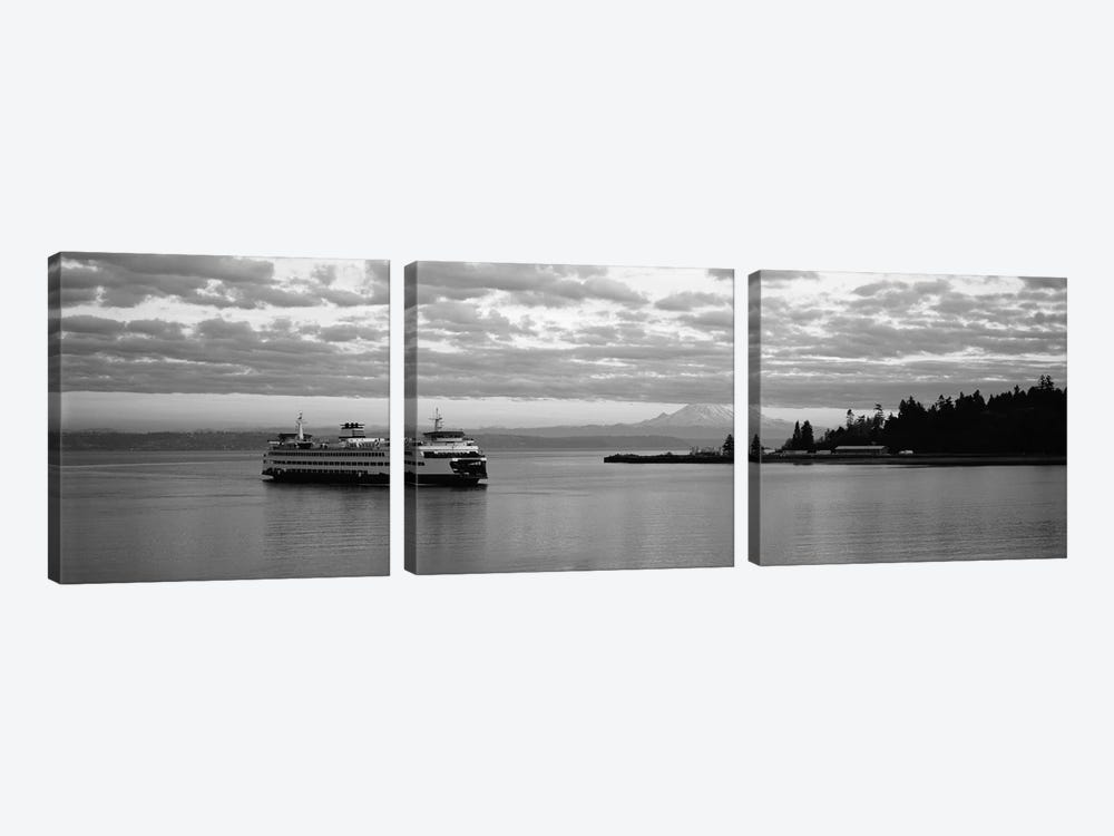 Ferry in the sea, Bainbridge Island, Seattle, Washington State, USA by Panoramic Images 3-piece Canvas Art Print