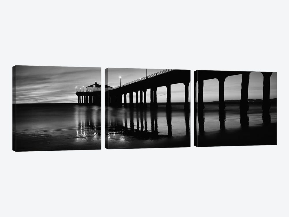 Low angle view of a pier, Manhattan Beach Pier, Manhattan Beach, Los Angeles County, California, USA by Panoramic Images 3-piece Canvas Art