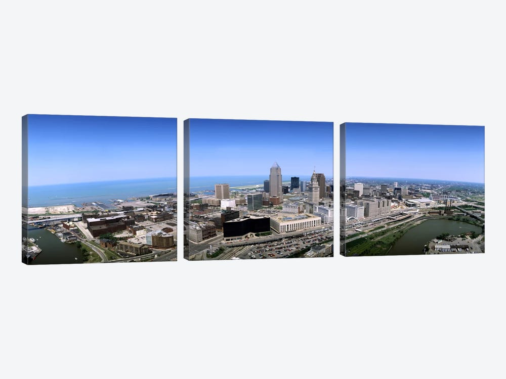 Aerial view of buildings in a cityCleveland, Cuyahoga County, Ohio, USA by Panoramic Images 3-piece Canvas Wall Art