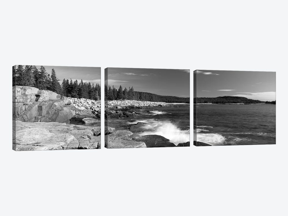Waves breaking on rocks at the coast, Acadia National Park, Schoodic Peninsula, Maine, USA by Panoramic Images 3-piece Canvas Print