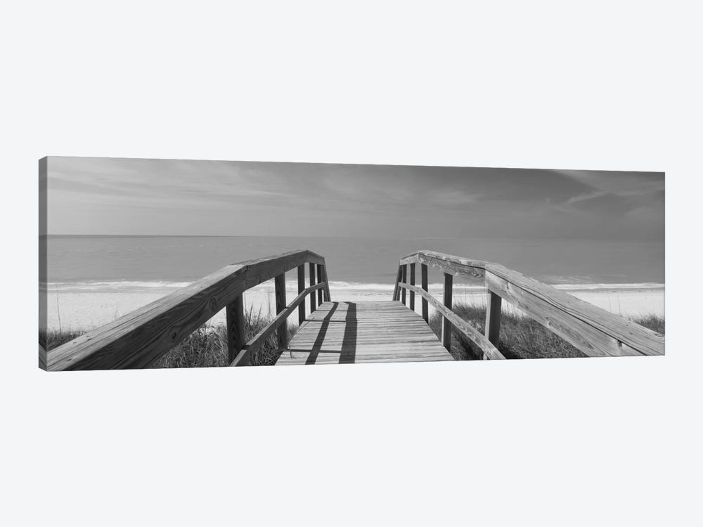 Beachside Boardwalk In B&W, Gasparilla Island, Florida, USA by Panoramic Images 1-piece Canvas Art