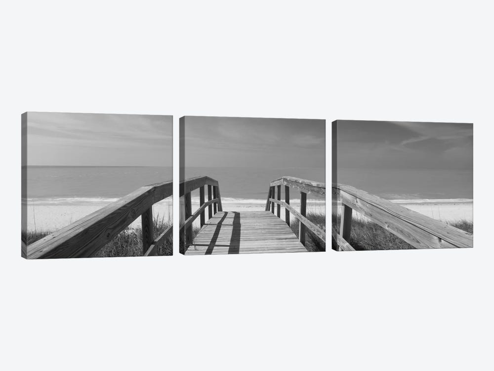 Beachside Boardwalk In B&W, Gasparilla Island, Florida, USA by Panoramic Images 3-piece Canvas Wall Art