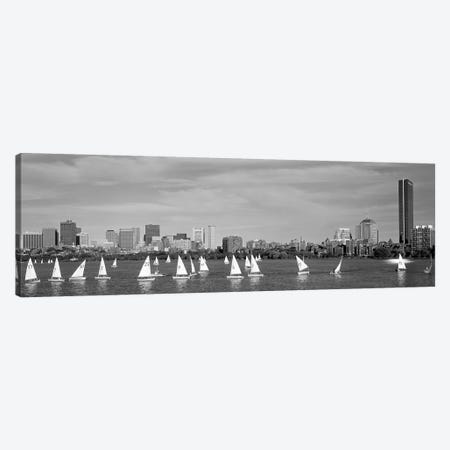 USA, Massachusetts, Boston, Charles River, View of boats on a river by a city Canvas Print #PIM11920} by Panoramic Images Canvas Artwork