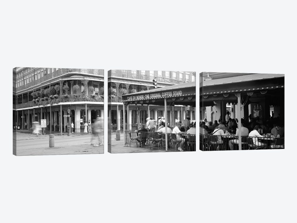 Cafe du Monde French Quarter New Orleans LA by Panoramic Images 3-piece Canvas Art Print