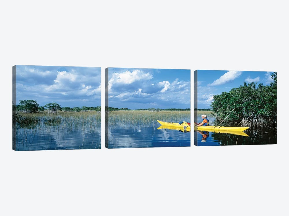 Kayaker In Everglades National Park, Florida, USA by Panoramic Images 3-piece Canvas Art