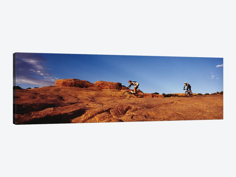 Two people mountain biking, Moab, Utah, USA by Panoramic Images 1-piece Canvas Art