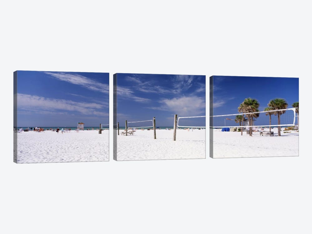 Beach Volleyball Nets, Siesta Beach, Siesta Key, Sarasota County, Florida, USA by Panoramic Images 3-piece Canvas Print