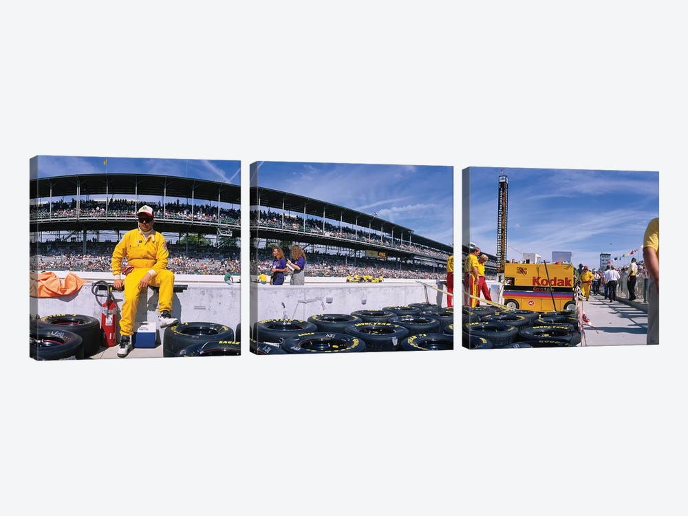 Motor Car Racers Preparing For A Race, Brickyard 400, Indianapolis Motor Speedway, Indianapolis, Indiana, USA by Panoramic Images 3-piece Canvas Art