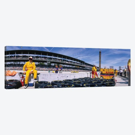Motor Car Racers Preparing For A Race, Brickyard 400, Indianapolis Motor Speedway, Indianapolis, Indiana, USA 3-Piece Canvas #PIM11962} by Panoramic Images Canvas Wall Art