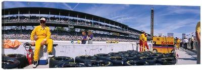 Motor Car Racers Preparing For A Race, Brickyard 400, Indianapolis Motor Speedway, Indianapolis, Indiana, USA Canvas Art Print