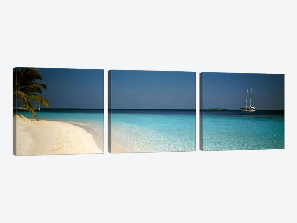 Beach & Boat Scene The Maldives by Panoramic Images 3-piece Canvas Artwork