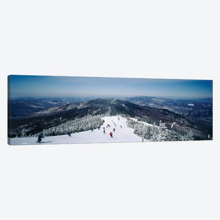 Aerial view of a group of people skiing downhill, Sugarbush Resort, Vermont, USA Canvas Print #PIM11990} by Panoramic Images Art Print
