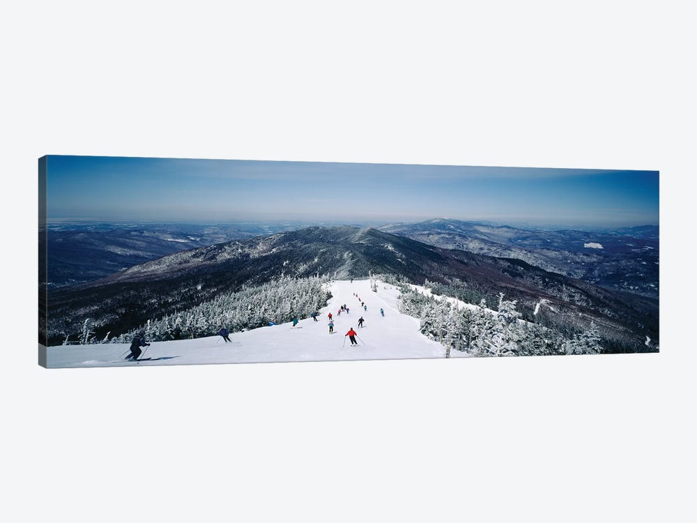 Aerial view of a group of people skiing downhill, Sugarbush Resort, Vermont, USA by Panoramic Images 1-piece Canvas Art Print