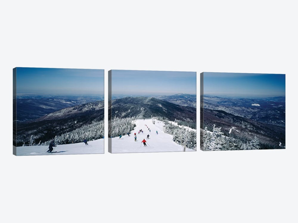 Aerial view of a group of people skiing downhill, Sugarbush Resort, Vermont, USA by Panoramic Images 3-piece Canvas Print