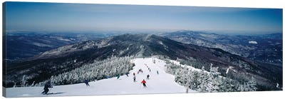 Aerial view of a group of people skiing downhill, Sugarbush Resort, Vermont, USA Canvas Art Print