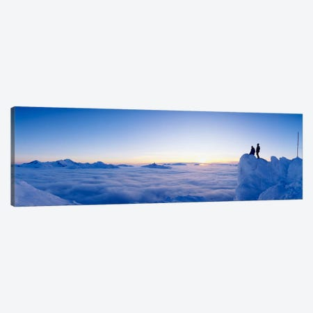 Hikers Admiring A Cloudscape, Whistler Mountain, Whistler, British Columbia, Canada 3-Piece Canvas #PIM11992} by Panoramic Images Art Print