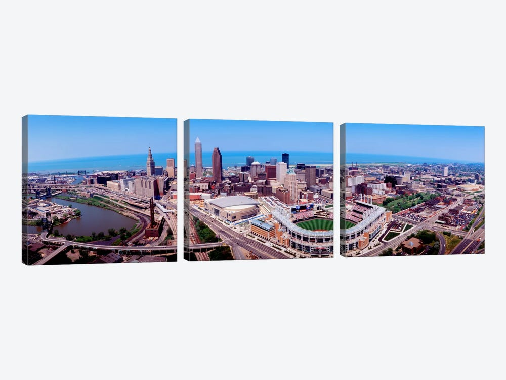 Aerial View Of Jacobs Field, Cleveland, Ohio, USA by Panoramic Images 3-piece Art Print