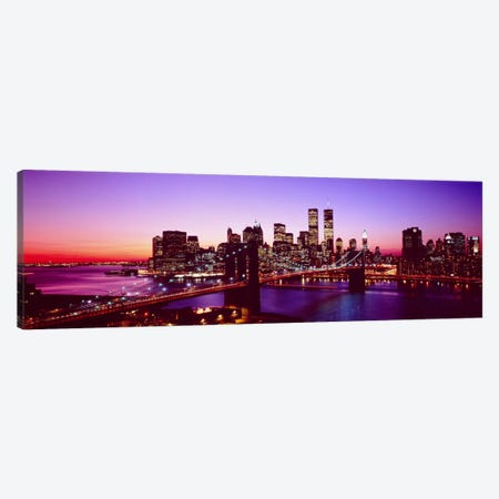 USA, New York City, Brooklyn Bridge, twilight Canvas Print #PIM11} by Panoramic Images Canvas Art Print