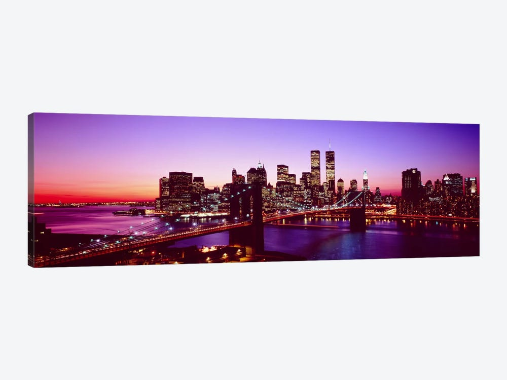 USA, New York City, Brooklyn Bridge, twilight by Panoramic Images 1-piece Canvas Art