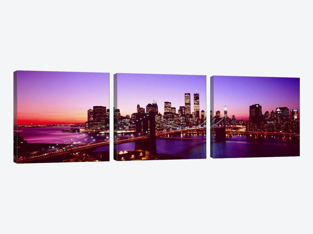 USA, New York City, Brooklyn Bridge, twilight by Panoramic Images 3-piece Canvas Artwork