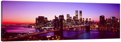 USA, New York City, Brooklyn Bridge, Twilight Canvas Art Print