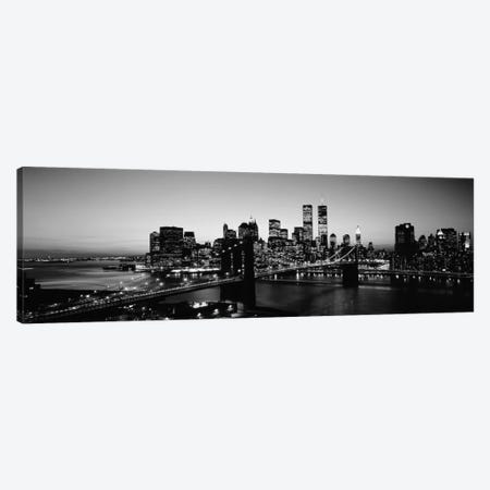 USA, New York City, Brooklyn Bridge, twilight (black & white) Canvas Print #PIM11bw} by Panoramic Images Art Print