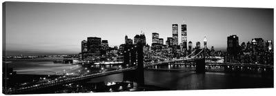 USA, New York City, Brooklyn Bridge, twilight (black & white) Canvas Print #PIM11bw