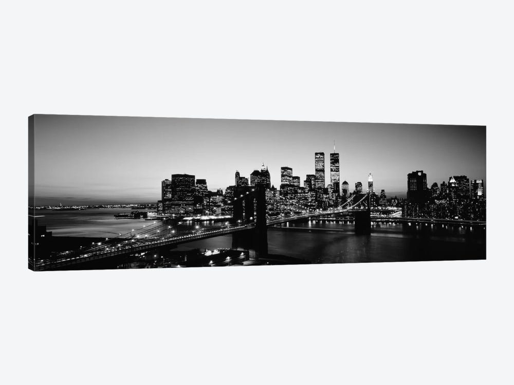 USA, New York City, Brooklyn Bridge, twilight (black & white) by Panoramic Images 1-piece Art Print
