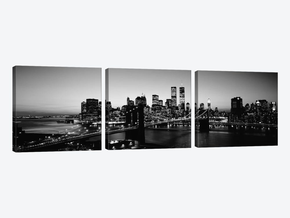 USA, New York City, Brooklyn Bridge, twilight (black & white) by Panoramic Images 3-piece Canvas Art Print