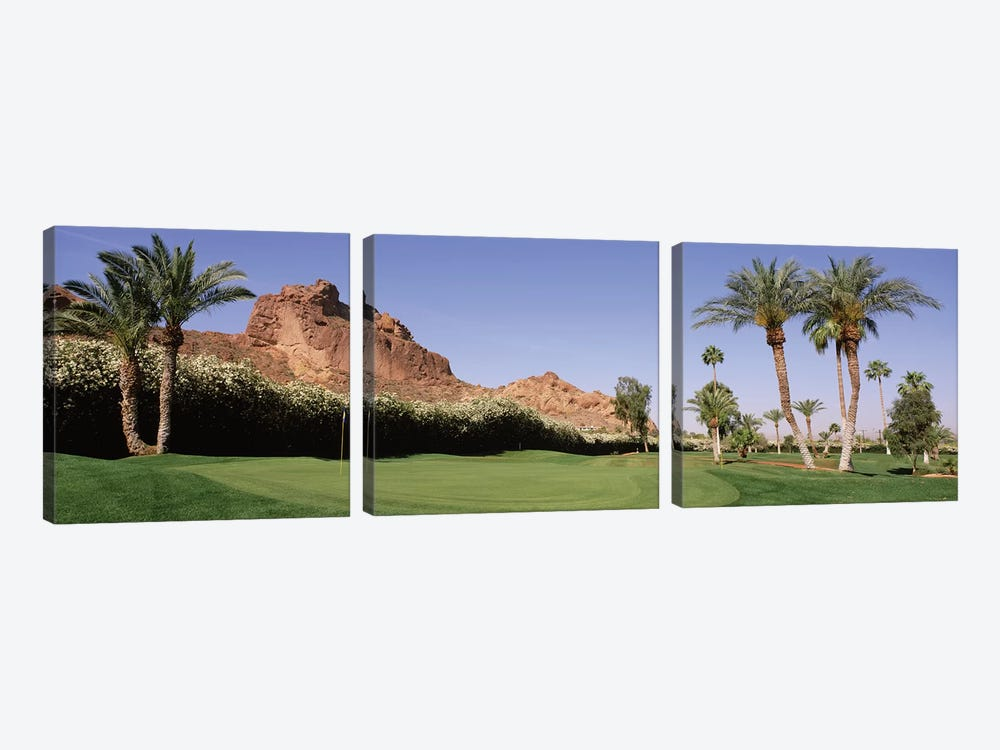 Golf course near rock formations, Paradise Valley, Maricopa County, Arizona, USA by Panoramic Images 3-piece Canvas Print