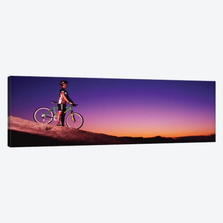 Mountain Biker Slickrock Trail Moab UT Canvas Print #PIM12028} by Panoramic Images Canvas Art Print