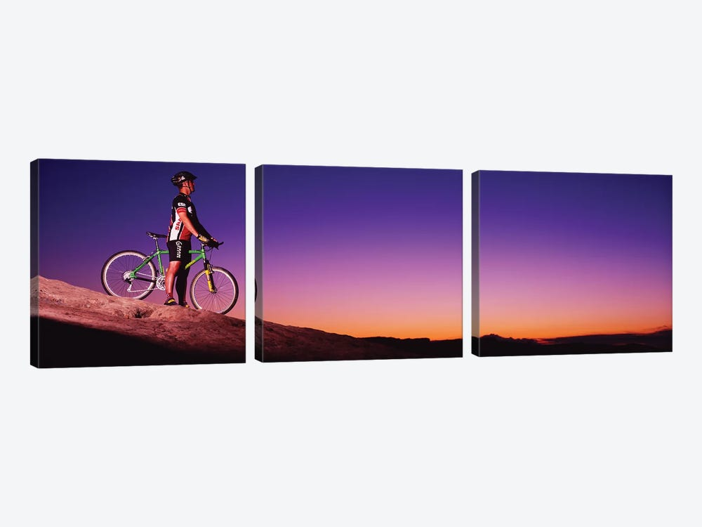 Mountain Biker Slickrock Trail Moab UT by Panoramic Images 3-piece Canvas Artwork